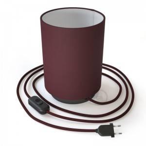 Posaluce in metallo con paralume Cilindro Teletta Bordeaux, completo di cavo tessile, interruttore e spina a 2 poli