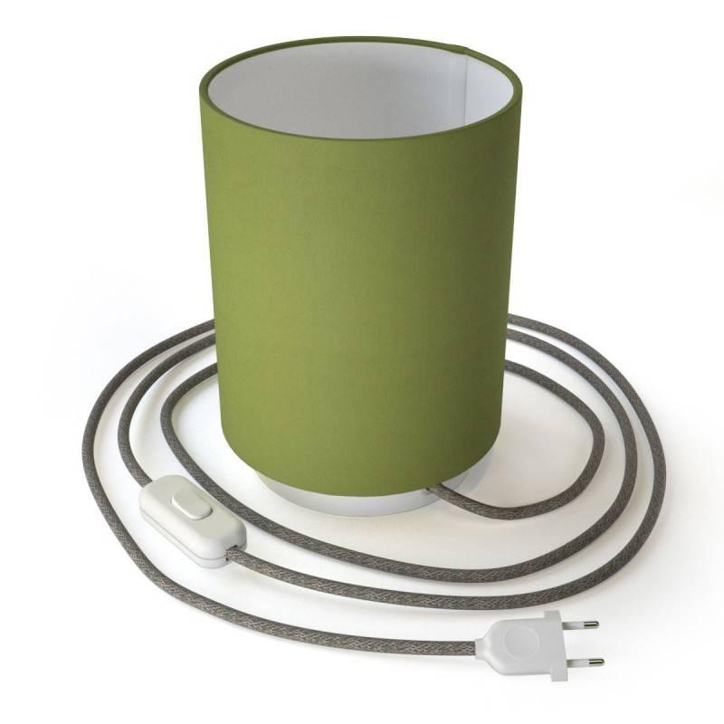 Posaluce in metallo con paralume Cilindro Teletta Verde Oliva, completo di cavo tessile, interruttore e spina 2 poli