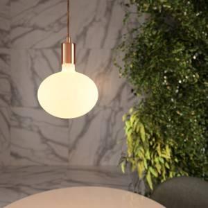 Lampada a sospensione Made in Italy completa di cavo tessile e finiture in metallo a contrasto