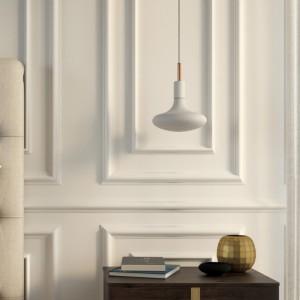 Lampada a sospensione Made in Italy completa di cavo tessile, finiture in metallo e serracavo da 7cm