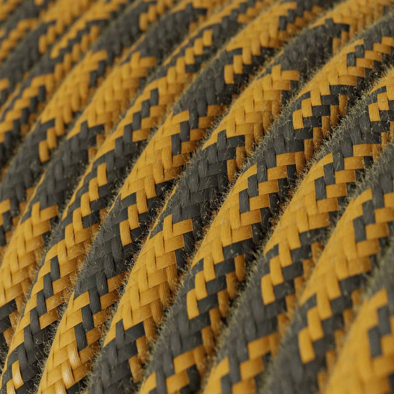 Lampada a sospensione Made in Italy completa di cavo tessile e finiture in pelle