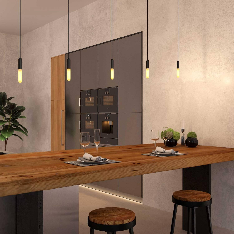 Lampada a sospensione Made in Italy completa di cavo tessile, portalampada E14 P-Light e finiture in metallo
