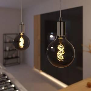 Lampada a sospensione Made in Italy completa di cavo tessile e finiture in metallo