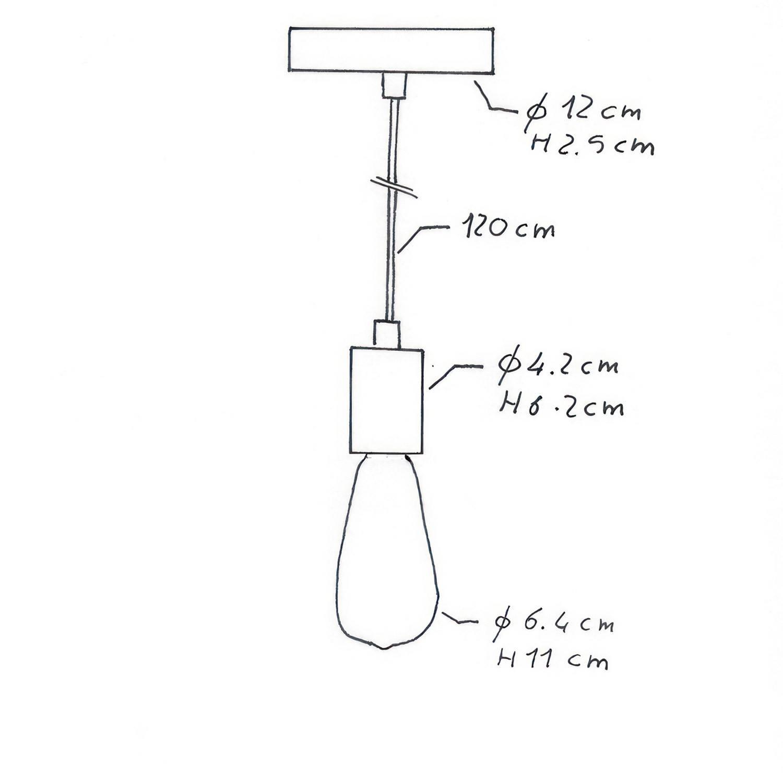 Lampada a sospensione Made in Italy completa di cavo tessile e finiture in metallo satinato