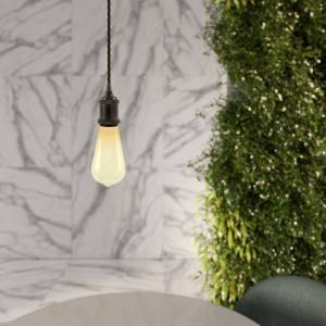 Lampada a sospensione Made in Italy completa di cavo tessile trecciato e portalampada in alluminio