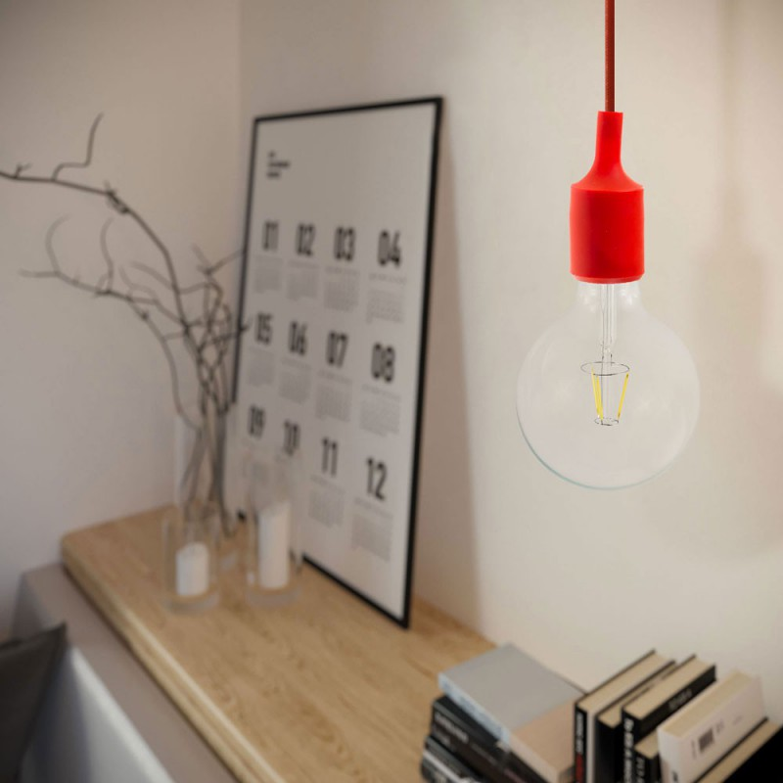 Lampada a sospensione Made in Italy completa di cavo tessile e finiture in silicone