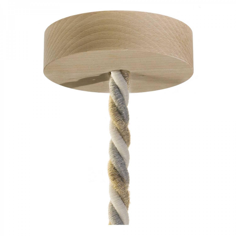 Lampada a sospensione Made in Italy completa di cordone nautico XL e finiture in legno