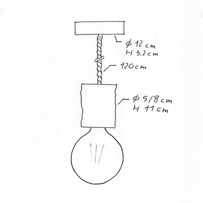 Lampada a sospensione Made in Italy completa di cordone nautico XL e portalampada in corteccia Small