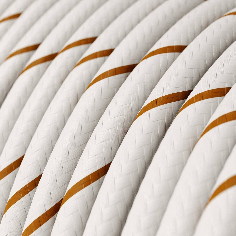 Lampada a sospensione Made in Italy completa di cavo tessile, paralume Swing e finiture in metallo