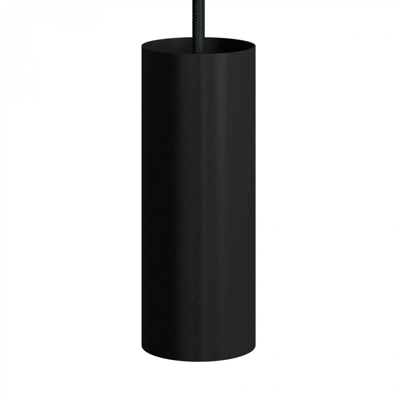 Lampada a sospensione Made in Italy completa di cavo tessile, paralume Tub-E14 e finiture in metallo
