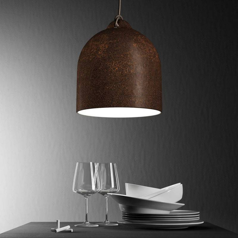 Lampada a sospensione Made in Italy completa di cavo tessile e paralume Campana M in ceramica