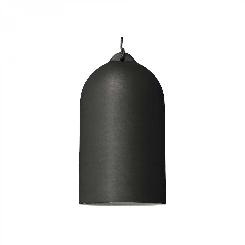 Lampada a sospensione Made in Italy completa di cavo tessile e paralume Campana XL in ceramica