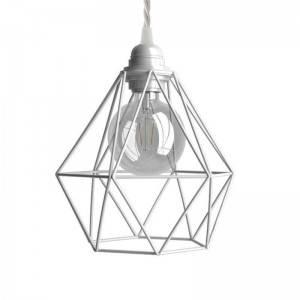 Lampada a sospensione Made in Italy completa di cavo tessile, paralume gabbia Diamond e finiture in metallo