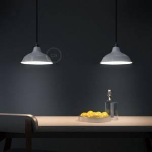 Lampada a sospensione Made in Italy completa di cavo tessile, paralume Bistrot e finiture in metallo