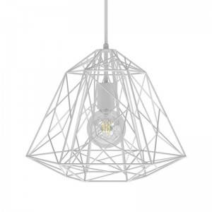 Lampada a sospensione Made in Italy completa di cavo tessile, paralume Apollo e finiture in metallo