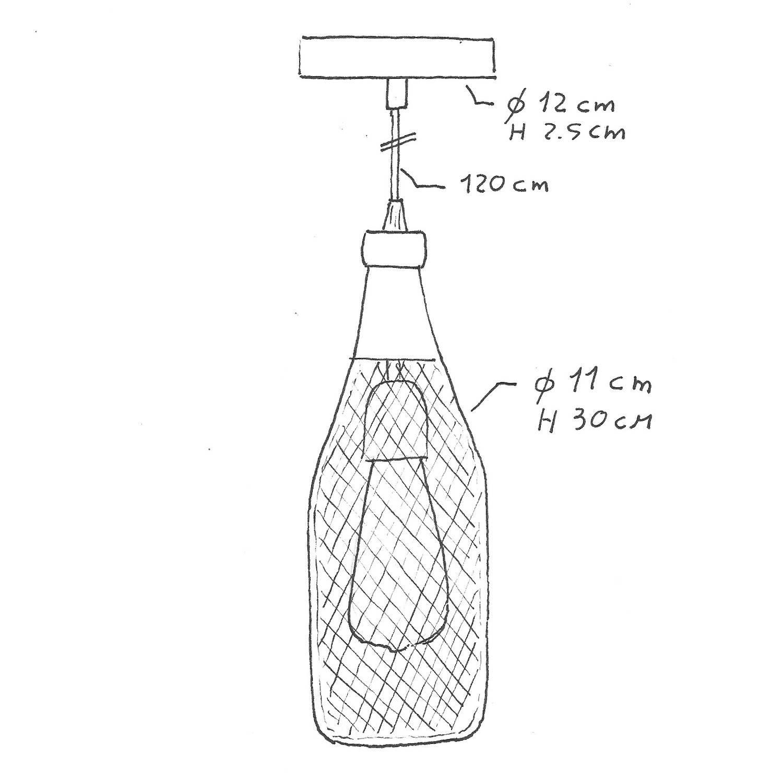 Lampada a sospensione Made in Italy completa di cavo tessile, paralume bottiglia Magnum e finiture in metallo