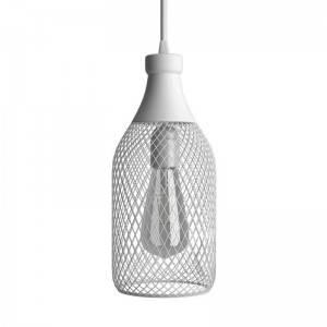 Lampada a sospensione Made in Italy completa di cavo tessile, paralume bottiglia Jéroboam e finiture in metallo