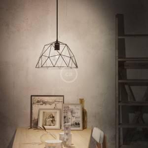 Lampada a sospensione Made in Italy completa di cavo tessile, paralume Dome e finiture in metallo