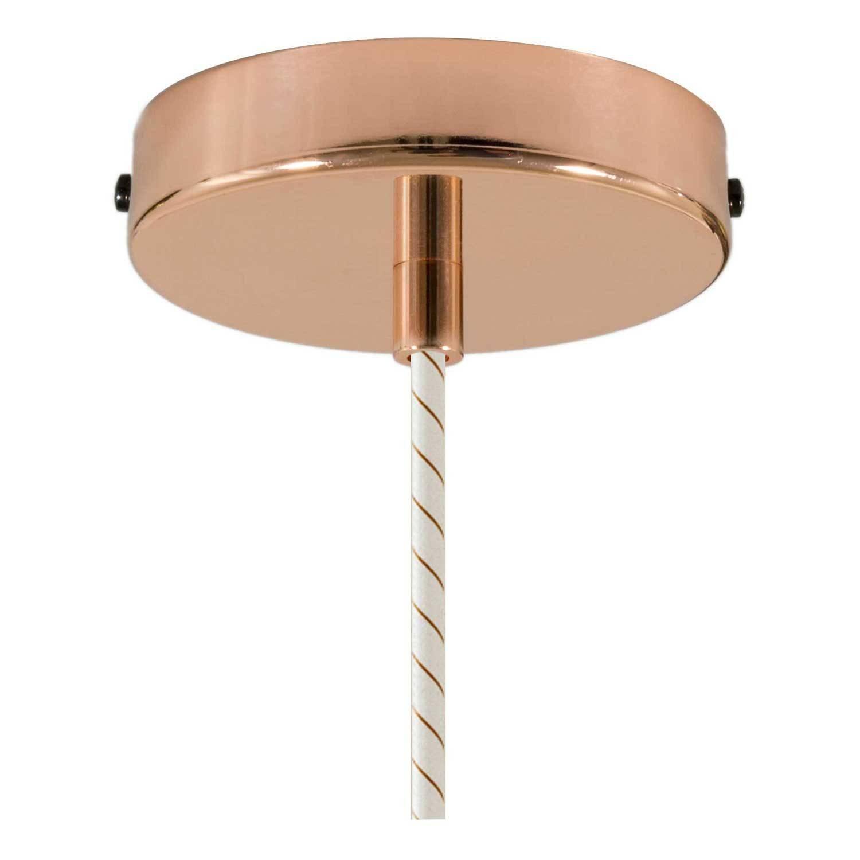 Lampada a sospensione Made in Italy completa di cavo tessile, paralume in ceramica Industriale e finiture in metallo