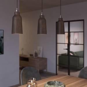 Lampada a sospensione Made in Italy completa di cavo tessile, paralume Bottiglia in ceramica e finiture in metallo