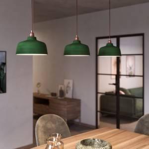 Lampada a sospensione Made in Italy completa di cavo tessile, paralume Coppa in ceramica e finiture in metallo