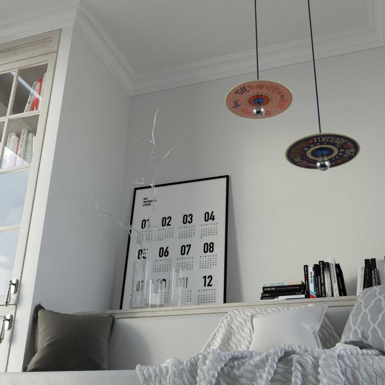 Lampada a sospensione Made in Italy completa di cavo tessile, paralume in legno UFO Pemberly Pond e finiture in metallo