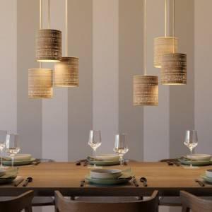 Lampada a sospensione Made in Italy completa di cavo tessile, paralume Cilindro in rafia e finiture in metallo