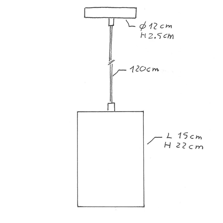 Lampada a sospensione Made in Italy completa di cavo tessile, paralume Cubo in cemento e finiture in metallo