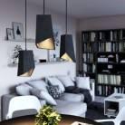 Lampada a sospensione Made in Italy completa di cavo tessile, paralume Prisma in cemento e finiture in metallo
