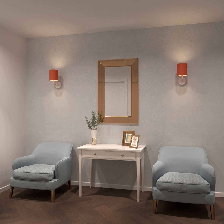 Fermaluce Pastel, lampada a muro in metallo con paralume ed estensione curva