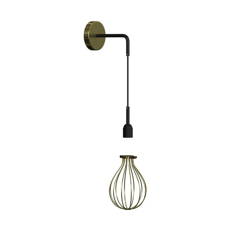 Fermaluce Metal con paralume Drop, lampada a muro in metallo con estensione curva e cavo tessile
