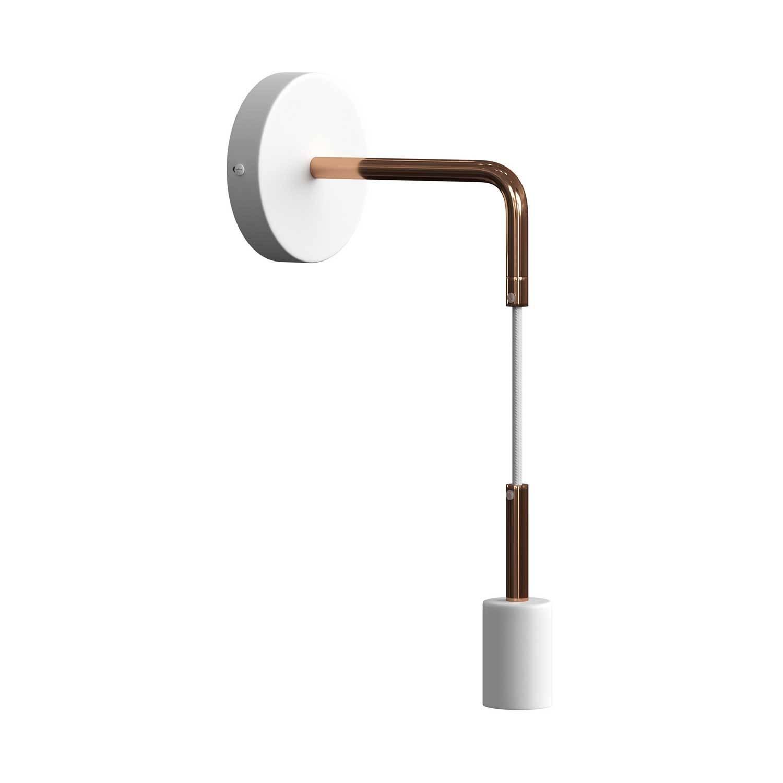 Fermaluce Metal, lampada a muro con estensione curva, cavo tessile e finiture in metallo