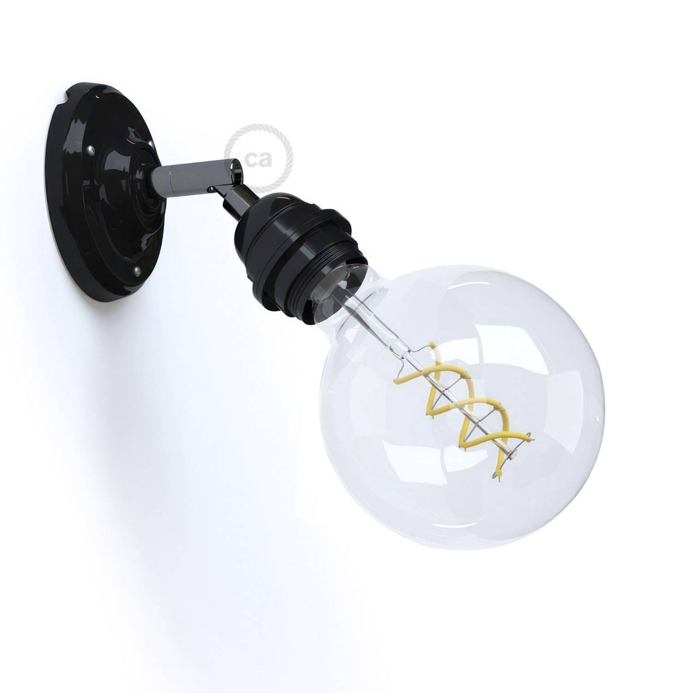 Fermaluce Classic 90° con portalampada filettato E27, lampada filomuro orientabile in porcellana