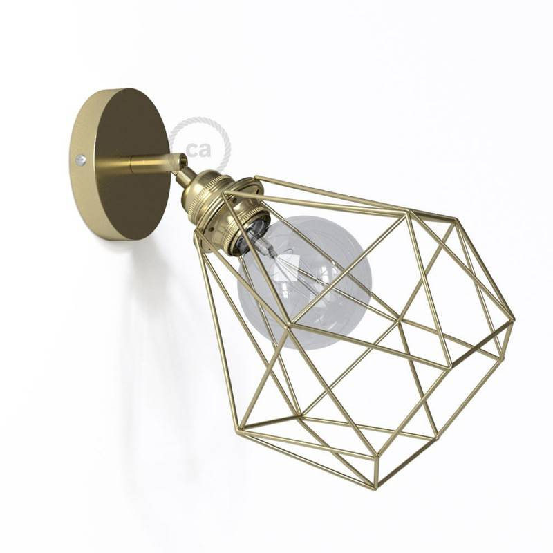 Fermaluce Metallo 90° con paralume Diamond, lampada filomuro orientabile in metallo