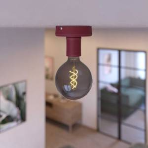Fermaluce Leather, punto luce a parete o soffitto in legno rivestito in pelle. Made in Italy