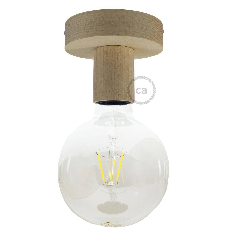 Fermaluce Wood S, punto luce a parete o soffitto in legno