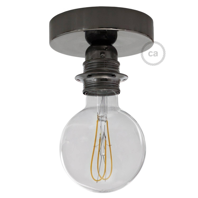 Fermaluce Metal con portalampada filettato E27, punto luce in metallo