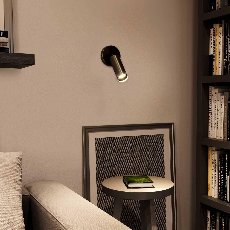 Fermaluce Metal faretto orientabile in metallo con paralume Tub-E14, lampada a muro