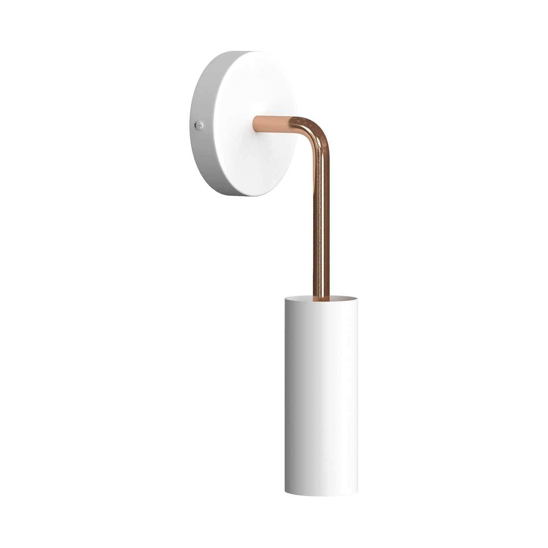 Fermaluce Metal, lampada a muro in metallo con estensione curva e paralume Tub-E14