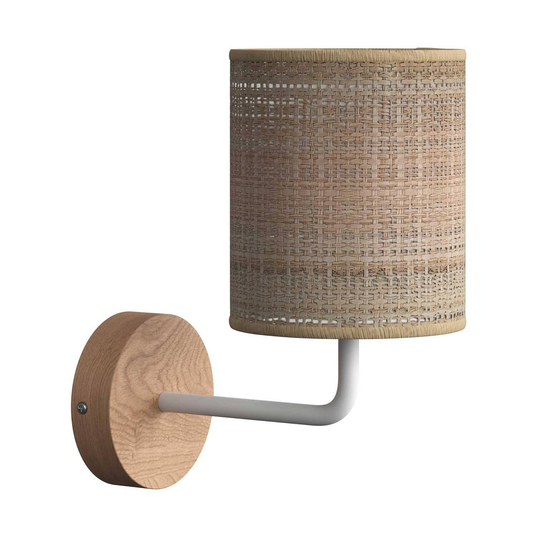 Fermaluce Wood, lampada a muro in legno con paralume Cilindro e estensione curva