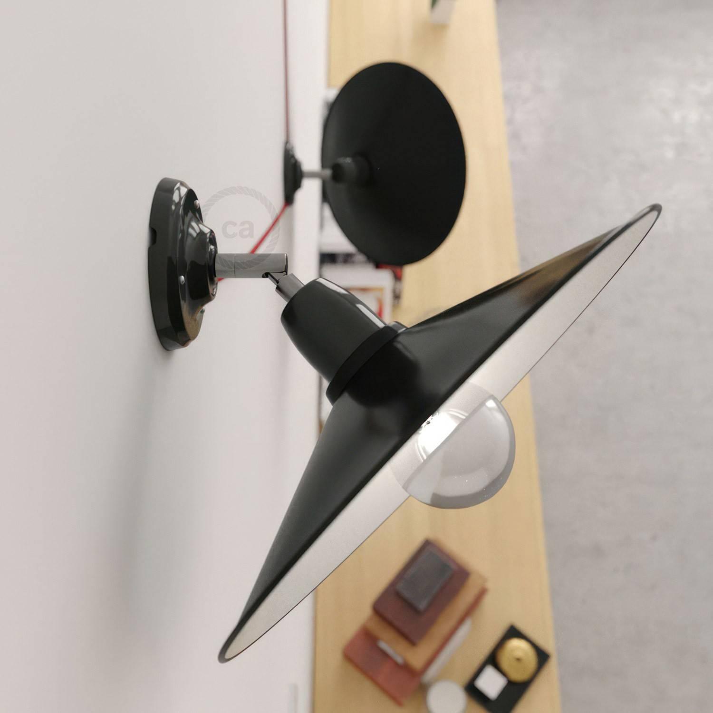 Fermaluce 90° con paralume Swing, lampada orientabile da parete o soffitto in porcellana