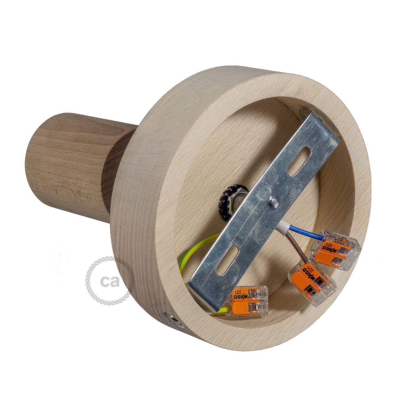 Fermaluce Wood 90°, punto luce a parete o soffitto in legno naturale