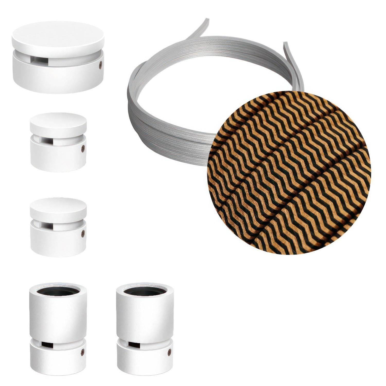 Sistema Filé Wiggle Kit - con cavo di 3 m per catenaria e 5 componenti in legno verniciato bianco per interni