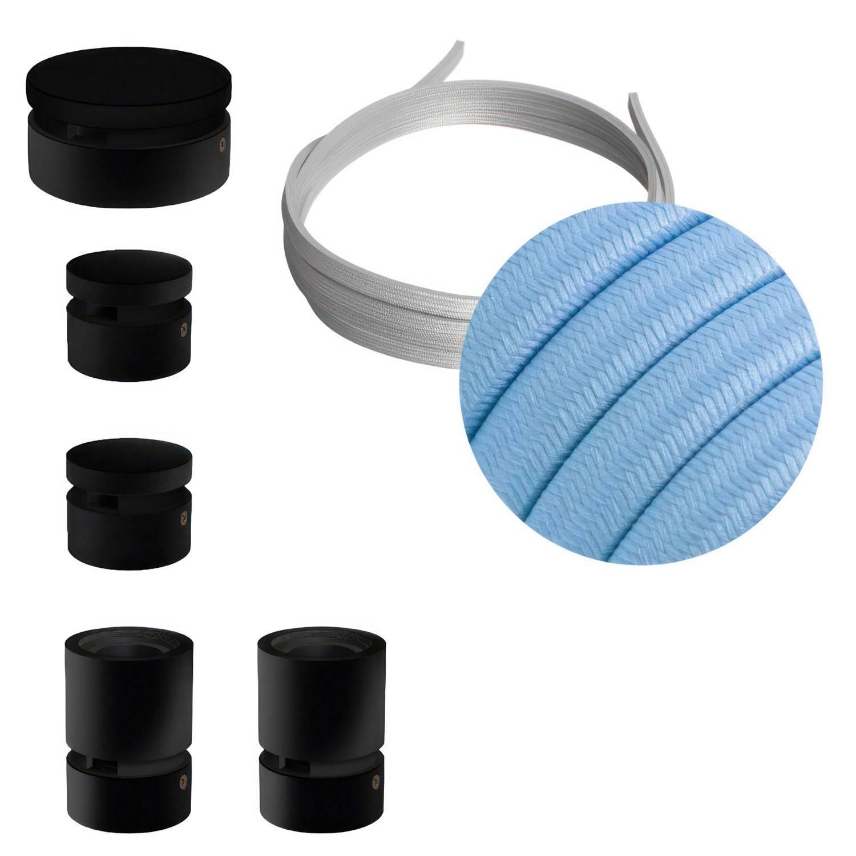 Sistema Filé Wiggle Kit - con cavo di 3 m per catenaria e 5 componenti in legno verniciato nero per interni