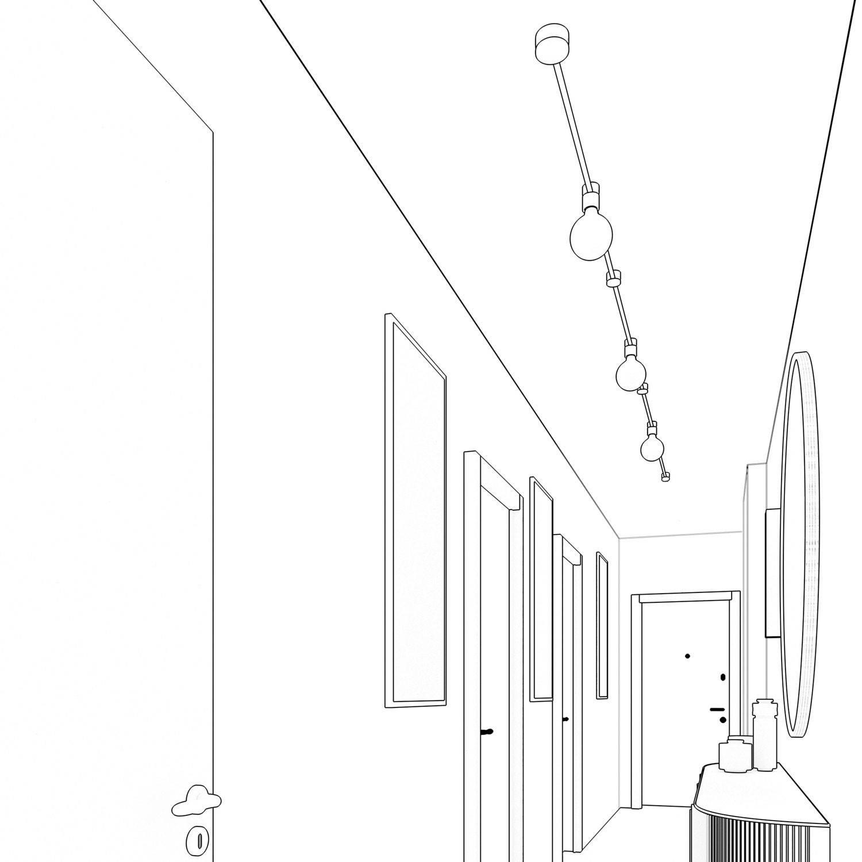 Sistema Filé Linear Kit - con cavo di 5 m per catenaria e 7 componenti in legno verniciato bianco per interni
