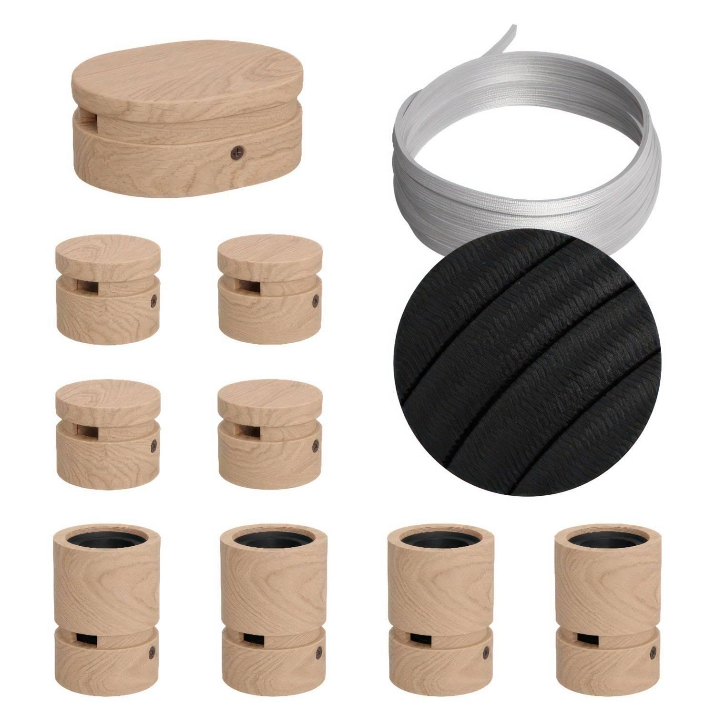 Sistema Filé Symmetric Kit - con cavo di 5 m per catenaria e 9 componenti in legno per interni