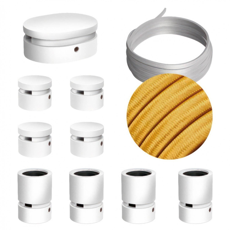 Sistema Filé Symmetric Kit - con cavo di 5 m per catenaria e 9 componenti in legno verniciato bianco per interni