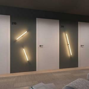 Fermaluce Sistema S14, lampada filo muro con attacco S14d e rosone in legno ovale