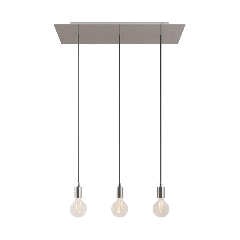 Lampada a sospensione a 3 cadute con XXL Rose-One rettangolare 675 mm completa di cavo tessile e finiture in metallo