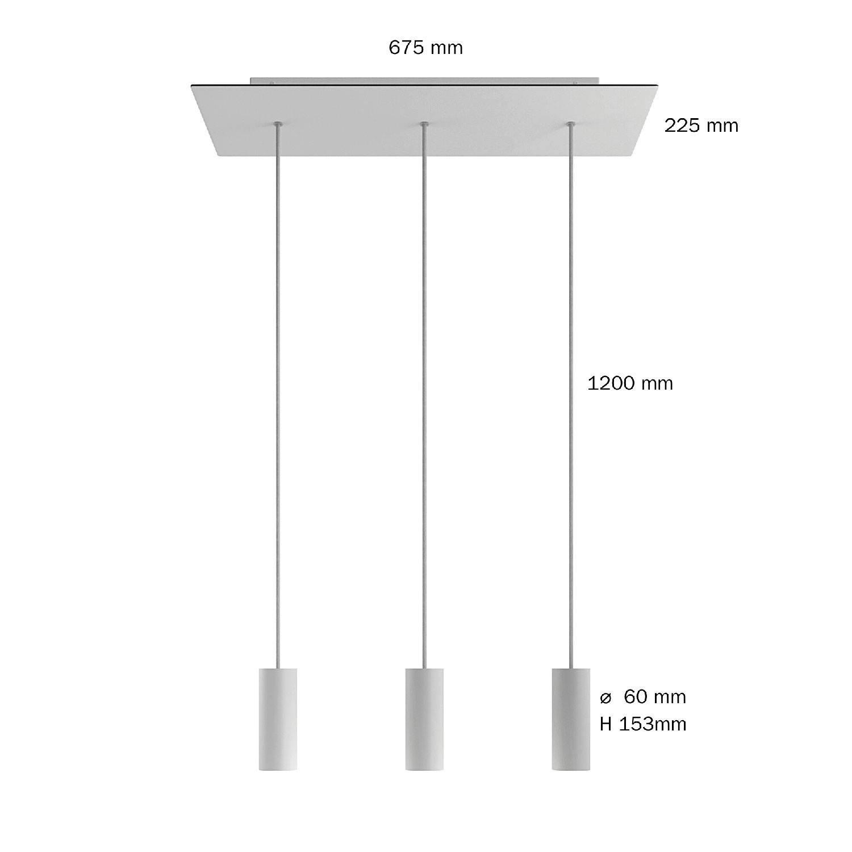 Lampada a sospensione a 3 cadute con XXL Rose-One rettangolare 675 mm completa di cavo tessile e paralume in metallo Tub-E14